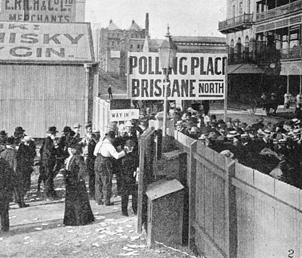 Women voting for the first time in the 1907 Queensland state election StateLibQld 1 72579 Women inside the gate of the city polling station, voting for the first time in a Queensland state election, May 1907 (suffragette movement in Queensland).jpg