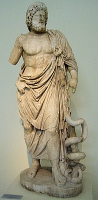 Asclepius with his serpent-entwined staff[1]