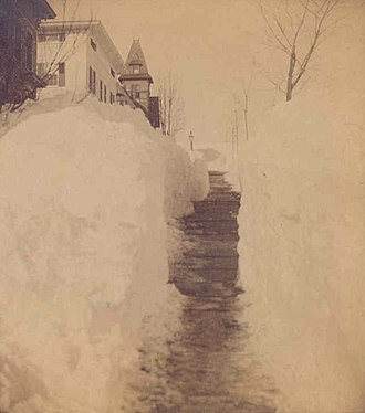 New Britain, Connecticut - Grand Street after the mid-March Great Blizzard of 1888