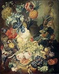 Stilleven met bloemen, vruchten en gevogelte