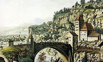 Saint-Maurice, Switzerland - Saint Maurice castle and bridge in 1782