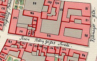 Valkendorfsgade - Stoere Hellig Geistes Stræde  as seen on Gedde's maps of Copenhagen from 1757