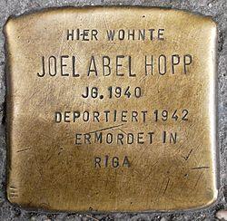 Photo of Joel Abel Hopp brass plaque