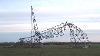 European windstorm - Damaged pylon in Germany after Windstorm Kyrill 2007