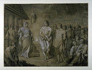 Iphigenia in Tauris - Orestes and Pylades brought before Iphigenia, by Joseph Strutt