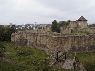 Bukovina - View over the western side of the Suceava medieval seat fortress