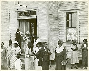 Black church - Outside of a Black church in Little Rock, Arkansas, 1935.