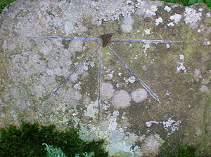 Canonical hours - A sundial showing the four Tides and five Canonical hours, based on the example on the Bewcastle Cross.
