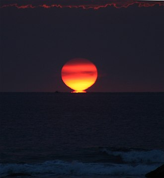 Mirage of astronomical objects - Etruscan vase stage of inferior mirage sunset in Hawaii