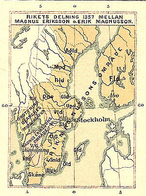 Magnus IV of Sweden - Historic map of when Sweden was divided between Magnus Eriksson and Erik Magnusson during 1357