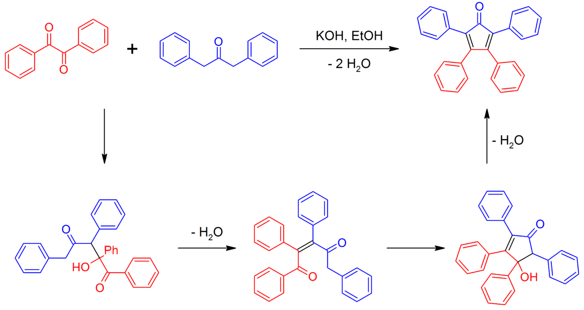 multistep synthesis of tetraphenylcyclopentadienone essay Synthesis of tetraphenylcyclopentadienone into a 10 x 100 mm reaction tube place 42 mg of pure benzil (free of benzoin perform test first),.