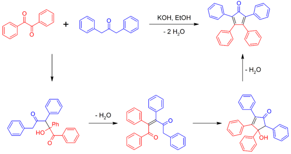 Synthesis of tetraphenylcyclopentadienone.png