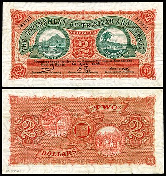 Trinidad and Tobago dollar - Image: TRI&TOB 2b Trinidad & Tobago 2 Dollars (1905)