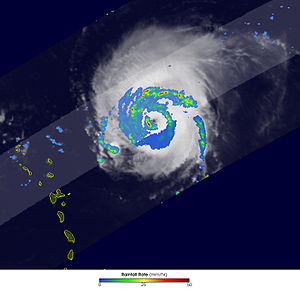 Eyewall replacement cycle - Imagery from Tropical Rainfall Measuring Mission shows the beginning of an eyewall replacement cycle in Hurricane Frances.