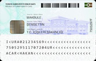 Republic of Turkey Identity Card - Image: TR Nat ID Card Back