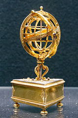 Table clock with an armillary sphere