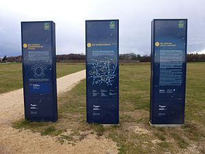 Goseck circle - Information boards at the entrance of the Sonnenobservatorium Goseck
