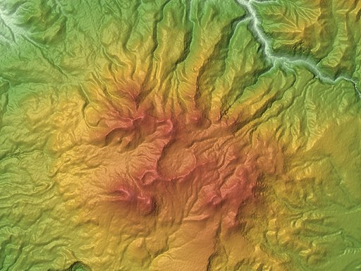 Taisetsu Volcano Group Relief Map (B), SRTM-1