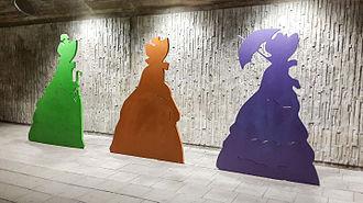 Elsa Beskow - Aunt Green, Aunt Brown and Aunt Lavender artwork in the Stockholm subway
