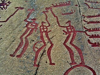 Bohuslän - Nordic Bronze Age rock art in Bohuslän, Three men performing a ritual, circa 2nd millennium BCE, the Bronze Age.