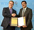 The AmbassadorPermanent Representative of India to the WTO, Shri J.S. Deepak presents his letter of credentials to the DG, WTO, Mr. Roberto Azevedo, in Geneva, Switzerland on June 06, 2017.jpg