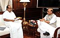 The Chairman, Public Accounts Committee of Parliament, Prof. K.V. Thomas calling on the Union Home Minister, Shri Rajnath Singh, in New Delhi on October 14, 2014.jpg