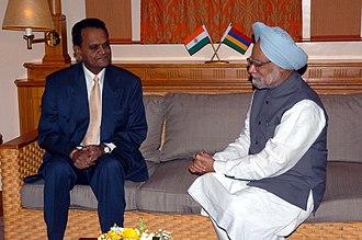 Ariranga Pillay - The Chief Justice of Mauritius, Mr. Justice G. Ariranga Pillay calls on the Prime Minister, Dr. Manmohan Singh, at Port Louis, Mauritius on April 01, 2005