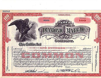 Diamond Match Company - The Diamond Match Co. circa Depression Era, Specimen Stock Certificate