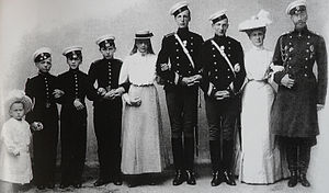 Prince Gabriel Constantinovich of Russia - Prince Gabriel Konstantinovich with his family. From left to right; Prince George, Prince Igor, Prince Oleg, Prince Konstantin, Princess Tatiana, Prince Gabriel, Prince Ioan, Grand Duchess Elisabeth Mavrikievna and Grand Duke Konstantin, 1905