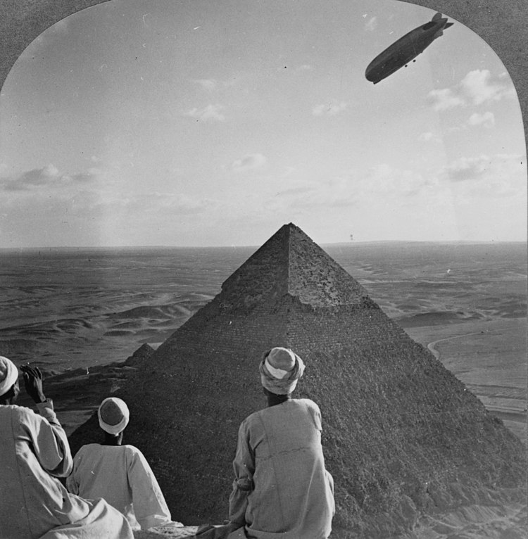 The Graf Zeppelin's rendezvous with pyraminds of Gizeh, Egypt.jpg