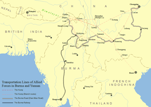 Transportation of Allied Forces in Burma and southwestern China including the Burma Road The Hump and Burma Road.png
