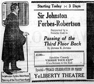 The Passing of the Third Floor Back (1918 film) - Advertisement for the film