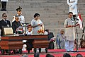 The President, Shri Pranab Mukherjee administering the oath as Minister of State to Shri Upendra Kushwaha, at a Swearing-in Ceremony, at Rashtrapati Bhavan, in New Delhi on May 26, 2014.jpg