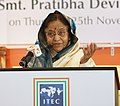 The President, Smt. Pratibha Devisingh Patil addressing at the inaugural function of the Indian Trade Exhibition Centre (ITEC) at Sharjah on November 25, 2010.jpg