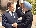 The President of France, Mr. Nicolas Sarkozy receiving the Prime Minister, Dr. Manmohan Singh for the working lunch, at Hotel Marigny, in Paris on July 14, 2009 (1).jpg