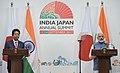 The Prime Minister, Shri Narendra Modi and the Prime Minister of Japan, Mr. Shinzo Abe at the joint press statement, during 12th India Japan Annual Summit, at Mahatma Mandir, in Gandhinagar, Gujarat on September 14, 2017.jpg