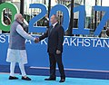 The Prime Minister, Shri Narendra Modi being welcomed by the President of Kazakhstan, Mr. Nursultan Nazarbayev, at the inauguration of the Astana EXPO-2017, in Astana, Kazakhstan on June 09, 2017.jpg