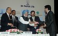 The Prime Minister Dr. Manmohan Singh presenting the National Leadership Award for achievement in the field of the Business to Shri Kumaramangalam Birla, chairman, A V Birla Group at the IIM Lucknow.jpg