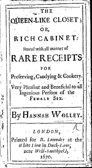 The Queen-Like Closet - Title page of The Queen-Like Closet Or Rich Cabinet by Hannah Woolley, 1670