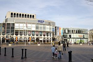 Birmingham Repertory Theatre - The Rep in 2007, before rebuilding as part of the Library of Birmingham project removed the 1991 extension, which can be seen to the right.