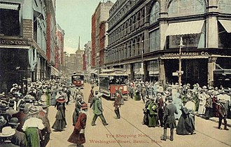 Jordan Marsh - Shoppers crowd the entrance to Jordan Marsh ca. 1910