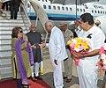 The Vice President, Shri Mohd. Hamid Ansari and Smt. Salma Ansari being received by the Governor of Karnataka, Shri Vajubhai Rudabhai Vala, at Mangalore International Airport, in Mangalore on September 21, 2014.jpg