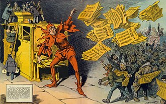 "Yellow journalism - ""The Yellow Press"", by L. M. Glackens, portrays William Randolph Hearst as a jester distributing sensational stories"