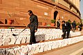 The documents of Rail Budget 2013-14 brought in the Parliament House premises under security, in New Delhi on February 26, 2013.jpg