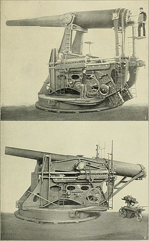 12-inch gun M1895 - A coastal defense 12-inch gun on an M1895 disappearing carriage, showing raised and lowered positions.
