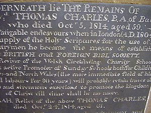 British and Foreign Bible Society - Gravestone in Wales of Thomas Charles, who helped found the BFBS
