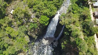 Thomson's Falls - This is an aerial view of Thompson Falls, located in Nyahururu, Kenya.