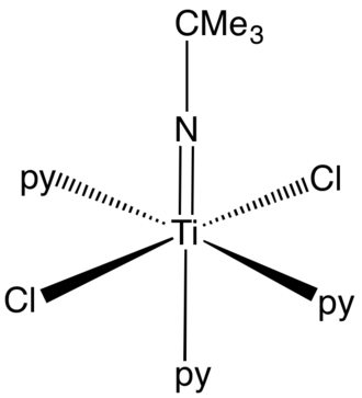 Transition metal imido complex - Structure of a representative imido complex (py = pyridine, CMe3 = tert-butyl)