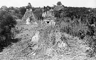 Tikal - One of Maudsley's photos of Tikal from 1882, taken after vegetation had been cleared