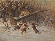 Картина «Рысь, загнанная собаками» Ефима Тикменева